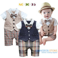 Baby boy romper baby clothes College waistcoat bebes infant Gentleman romper Toddler kid's jumpsuit newborn clothing rompers