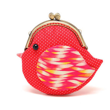 Cute fiery red bird clutch purse
