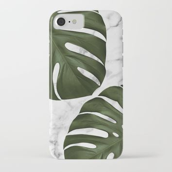 Marble Monstera iPhone & iPod Case by New Wave Studio