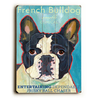 French Bulldog by Artist Ursula Dodge Wood Sign