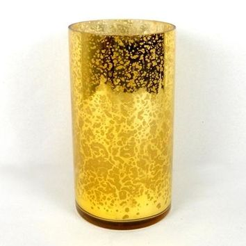 "Mercury Glass Vase in Gold - 6"" Tall"