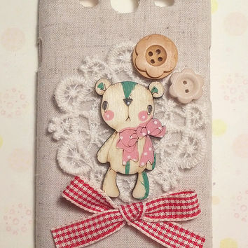 Diy Handmade Fabric Art Phone Case no.79 Lovely dear with lace for Samsung Galaxy S4 S3 S2 T-Mobile Epic 4G Touch for Sprint Note 2
