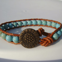 Turquoise Magnesite Beaded Leather Braclet with Sunflower Button