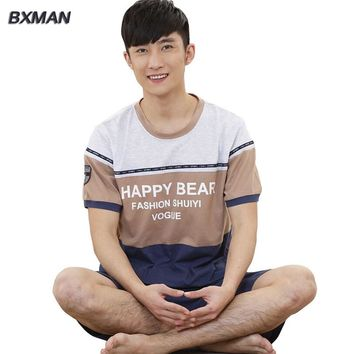 BXMAN Brand Men's Classic Pijamas Hombre Men's Pajamas Summer Cotton Letter O-Neck Short Sleeve Knee Length Pajamas For Couples