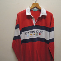 15% CRAZE SALE Vintage 90's Leyton House Marine Activites Wear Stripe Long Sleeve Polos Sport Wear Size 41