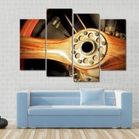 Vintage Wooden Aircraft Propeller And Engine Cylinders Multi Panel Canvas Wall Art