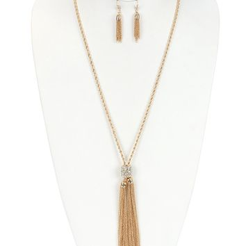 Long Chain Tassel Double  Pave Crystal Stone Link Rope Chain Necklace Earring Set