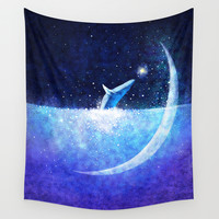 Blue whale and crescent Wall Tapestry by Hajin  Bae