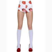 White Lips Print High Waisted Panty Shorts
