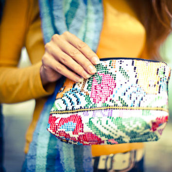 Patterned Cosmetic Bags made from Colorful Traditional Handwoven Guatemalan Cotton Huipil Fabric