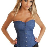 Blue Sexy Hook Eye Denim Overbust Corset With Lace Thong