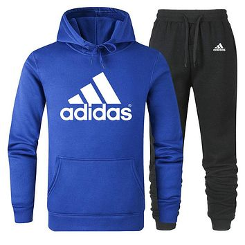 ADIDAS Tide brand men and women classic large printing cotton sports suit two-piece Blue