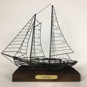 Vintage Wire Model Of Sail Boat