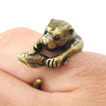 Otter Beaver Holding a Fish Shaped Animal Wrap Around Ring in Brass | US Sizes 4 to 9