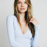 Free People Seamless Solid Deep V