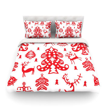 "Miranda Mol ""Frosted Landscape White"" Red Holiday Featherweight Duvet Cover"
