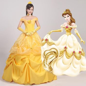Cosplay Women's the Beauty and Beast Princess Belle Dress Party Halloween Ball Gown Female Yellow Prom Costume  N342347