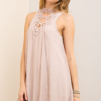 Gauze Keyhole Dress