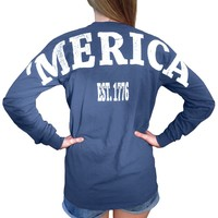 Kappa Alpha Theta X 'Merica Long Sleeve Blue Small