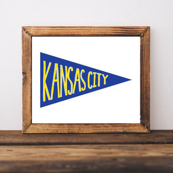 KC Royals, wall art prints, pennant, banner, kansas city decor, home decor, drawing and illustration, hand lettering