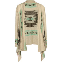 Full Tilt Southwestern Border Girls Wrap Sweater Cream Combo  In Sizes