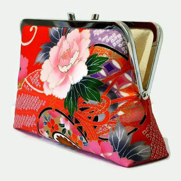 "Deep Red Silk Clutch Purse With A Pink Peony  Design, Scarlet Red Evening Clutch, Bold Red Wedding Purse, Japanese Obi Silk Purse 9"" x 5.5"""