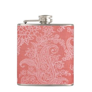 Coral red floral paisley pattern