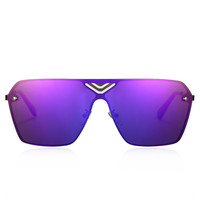 Purple Mirror Lens Cut Out Square Sunglasses