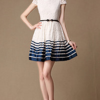 White Lace Dress with Navy Stripe Hem  Little White by DressStory