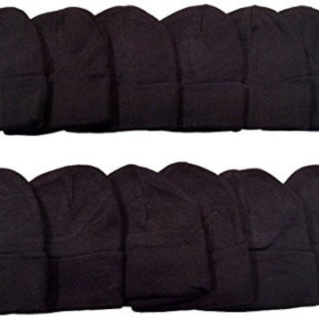 12 Winter Toboggan Beanie Hats by excell Thermal Sport Unisex, Black