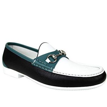 Gucci Horsebit White/Black / Blue Leather Loafer Moccasin 337060 AYO70 1067 (8 G / 9 US)
