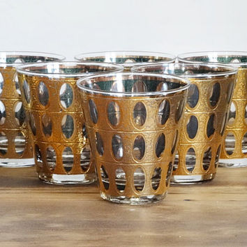 Set Culver Piza Glassses Barware Gold and Green Double Old Fashioned Mid Century