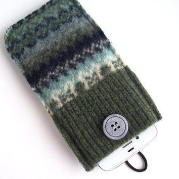 Upcycled Blue, Green, Gray, White Felted Wool Cell Phone Case, Fits iPhone & iPod, Phone Cozy