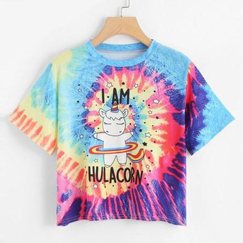 I am HUlacorn Short Sleeve Crop Women Top Multicolor Tie Dye T Shirt