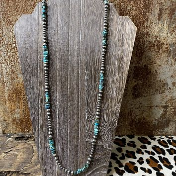 """Genuine Turquoise & Sterling Silver Navajo Bead 36"""" Necklace"""