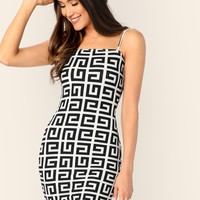 Greek Fret Bodycon Cami Dress