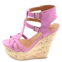 Strappy T-Strap Platform Wedges by Charlotte Russe - Purple
