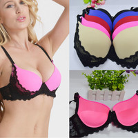 Women Sexy Underwire Padded Push Up Embroidery Lace Ladies Bra 32 34 36 38 40 A B C D Brassiere Bra Push Up BrasBH Lingerie