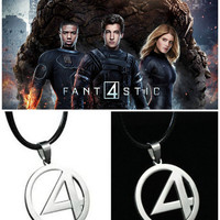 Fantastic 4 Fashion Super Hero Steel Necklace Cosplay Anime Logo Chain Pendant Silver
