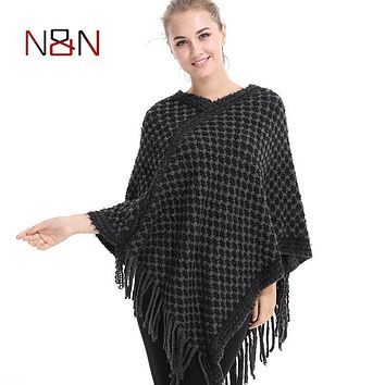 Casual Knitted Women Poncho Plus Size Solid And Spots Sweater Winter Thick Warm Tassel Sweater Batwing Sleeve Poncho And Capes