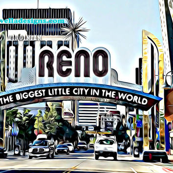 reno city Nevada abstract art printable wall art digital painting download image graphics home living room bedroom office decor