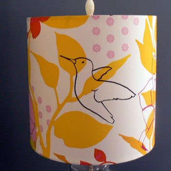 Hummingbird Sketch Drum Lamp Shade,Sunny Pops of Color