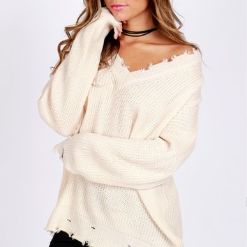 Distressed Pullover Sweater Cream