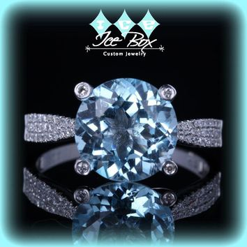 Solitaire Engagement Ring 3.5ct Sky Blue Topaz in a 14k White Gold Diamond Prong Setting