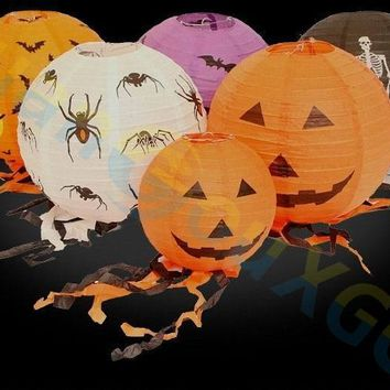 20pcs Halloween Easter Decorations Pumpkin Bats paper Lanterns Children's Toys Mall home Party Hanging pendant Props ornament
