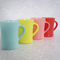 Glasbake Basketweave Coffee Mugs - 4 Vintage Fired on Colored Milk Glass Mugs - Basket Weave Coffee Mugs