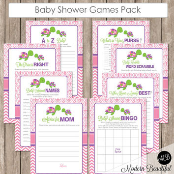 Turtle Baby Shower Game Pack - Pink, Purple and Lime, Baby Shower Activity Set, Shower Games Bingo, Price is Right and more INSTANT st2