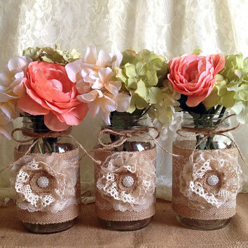 3 rustic burlap and lace covered mason jar vases, wedding, bridal shower, baby shower, party decoration