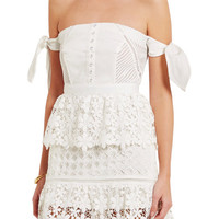 Self-Portrait - Off-the-shoulder guipure lace and twill mini dress