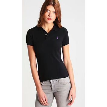 Polo Ralph Lauren Trending Stylish Logo Embroidery Lapel Short Sleeve T-Shirt Top Tee Black I-KWKWM